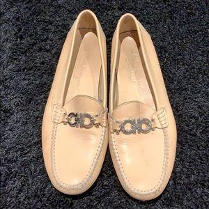 Salvatore Ferragamo sport beige tan loafers